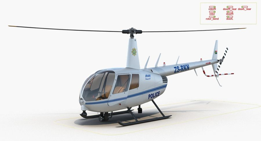 Police Helicopter Robinson R44 Rigged royalty-free 3d model - Preview no. 20