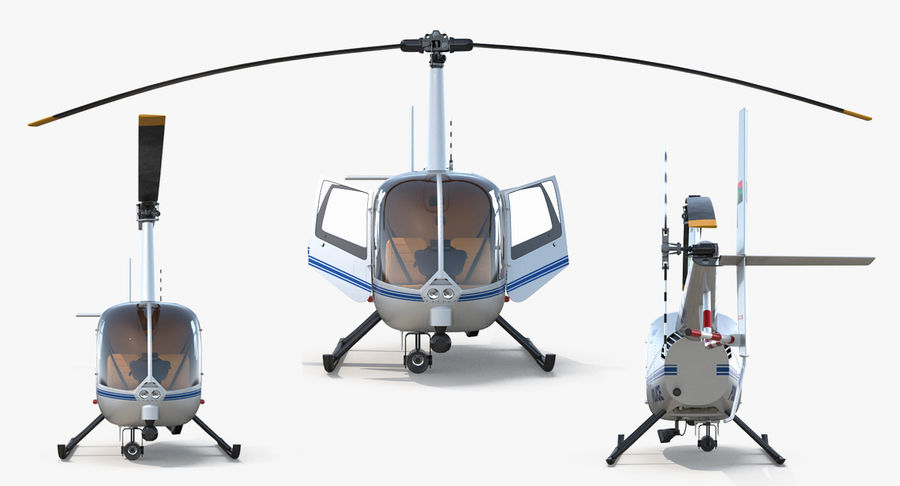 Police Helicopter Robinson R44 Rigged royalty-free 3d model - Preview no. 8