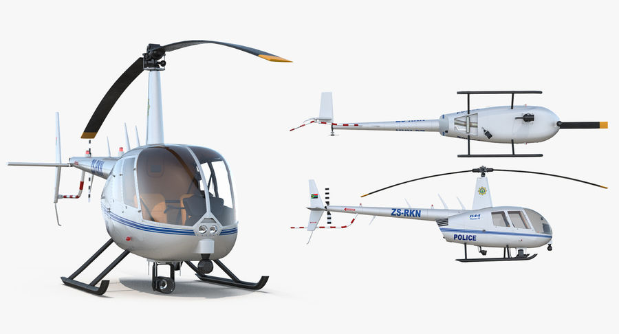 Police Helicopter Robinson R44 Rigged royalty-free 3d model - Preview no. 15