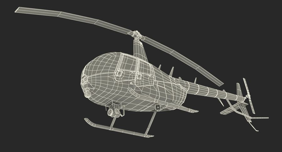 Police Helicopter Robinson R44 Rigged royalty-free 3d model - Preview no. 27
