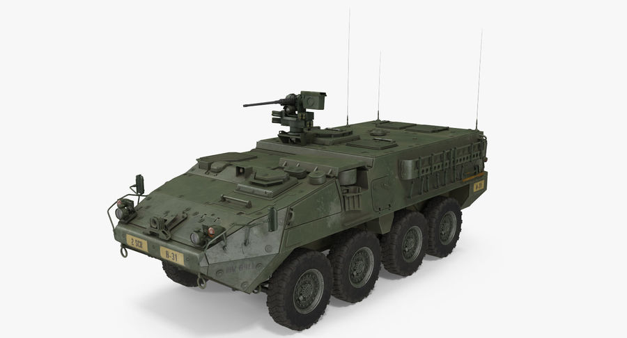 Interim Armored Vehicle Stryker M1126 royalty-free 3d model - Preview no. 5