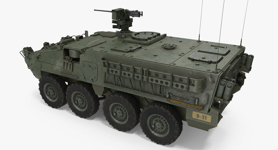 Interim Armored Vehicle Stryker M1126 royalty-free 3d model - Preview no. 4
