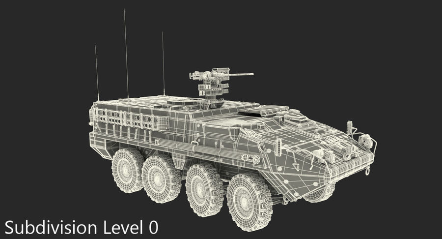 Interim Armored Vehicle Stryker M1126 royalty-free 3d model - Preview no. 16