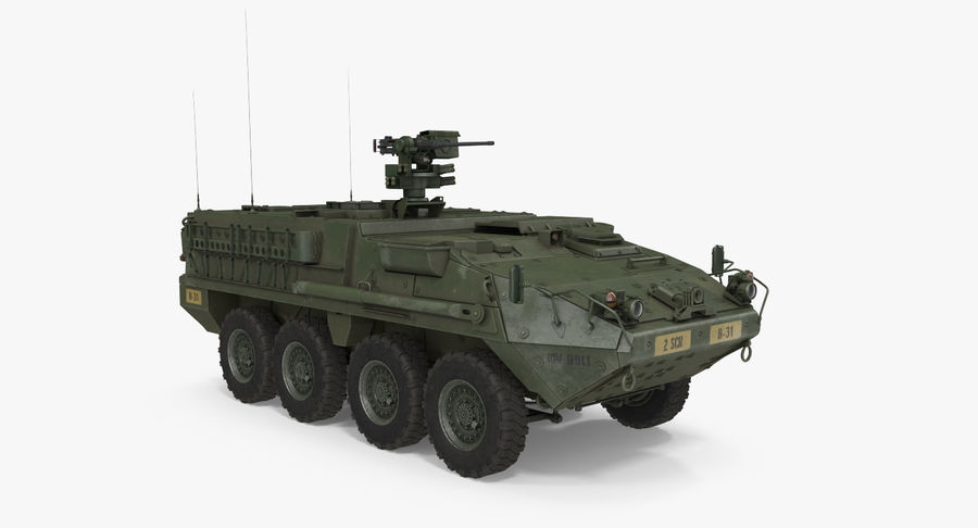 Interim Armored Vehicle Stryker M1126 royalty-free 3d model - Preview no. 2