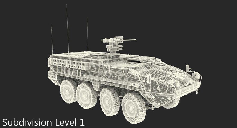 Interim Armored Vehicle Stryker M1126 royalty-free 3d model - Preview no. 17