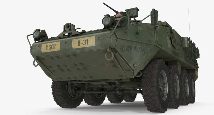 Interim Armored Vehicle Stryker M1126 royalty-free 3d model - Preview no. 3