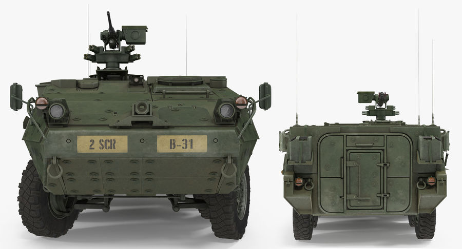 Interim Armored Vehicle Stryker M1126 royalty-free 3d model - Preview no. 6