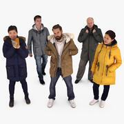 冬の人々コレクションx5 3d model