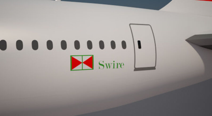 Cathay pacific 777 9X royalty-free 3d model - Preview no. 10