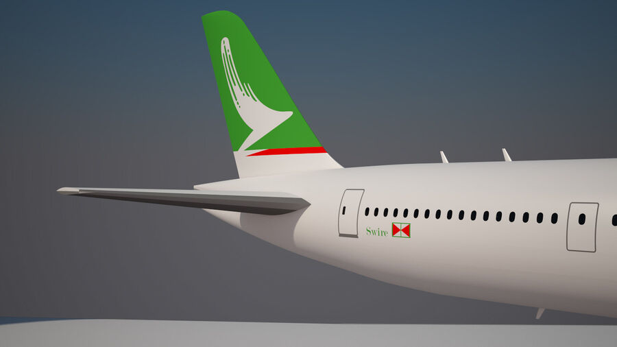 Cathay pacific 777 9X royalty-free 3d model - Preview no. 9