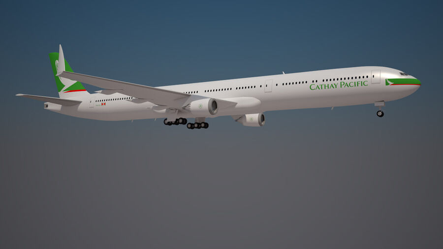 Cathay pacific 777 9X royalty-free 3d model - Preview no. 2