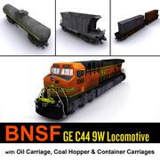 BNSF Lokomotif ve kargo taşımacılığı 3d model