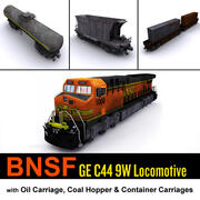 BNSF Locomotive & cargo carriage 3d model