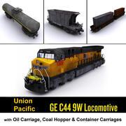 Union Pacific Lokomotif ve Kargo taşımacılığı 3d model