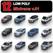 Low Poly Minivans v.01 3d model