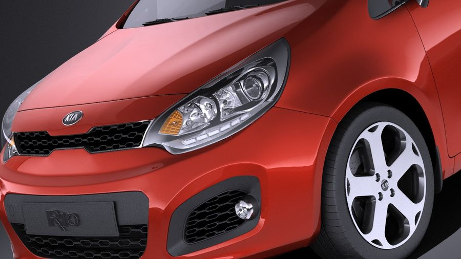Kia Rio 3-drzwiowy Hatchback 2014 VRAY royalty-free 3d model - Preview no. 3