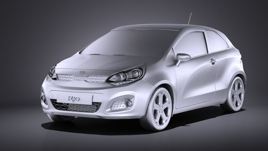 Kia Rio 3-drzwiowy Hatchback 2014 VRAY royalty-free 3d model - Preview no. 9