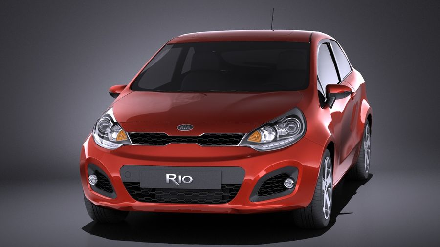 Kia Rio 3-drzwiowy Hatchback 2014 VRAY royalty-free 3d model - Preview no. 2