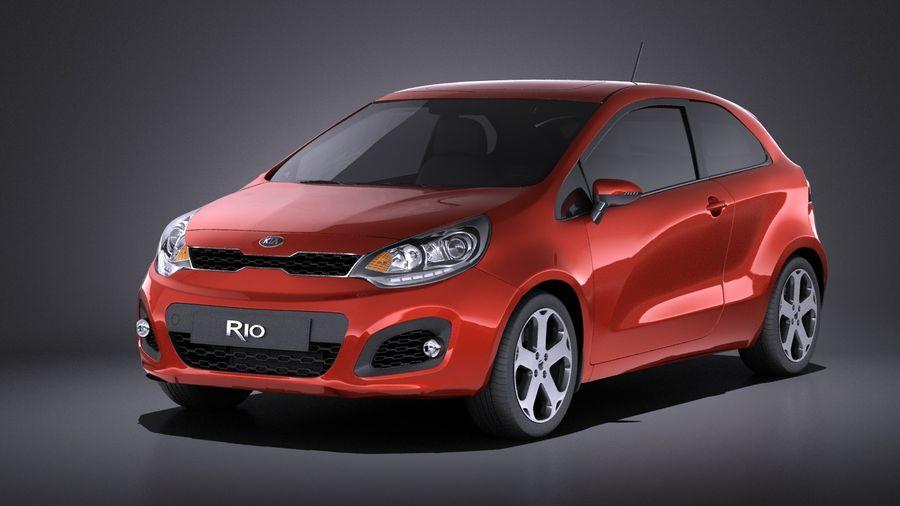 Kia Rio 3-drzwiowy Hatchback 2014 VRAY royalty-free 3d model - Preview no. 1