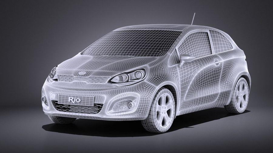 Kia Rio 3-drzwiowy Hatchback 2014 VRAY royalty-free 3d model - Preview no. 13