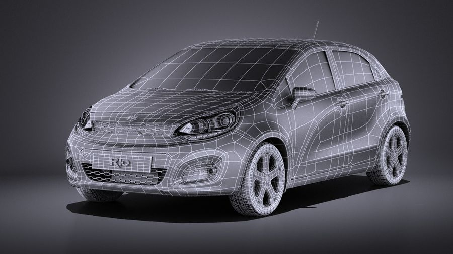 Kia Rio 2014 5door VRAY royalty-free 3d model - Preview no. 15
