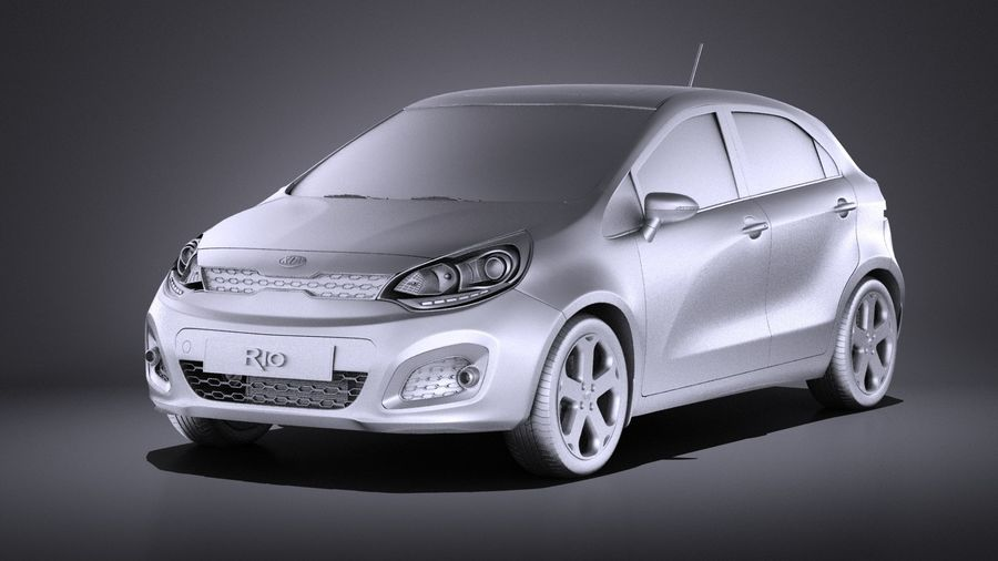 Kia Rio 2014 5 kapılı VRAY royalty-free 3d model - Preview no. 9