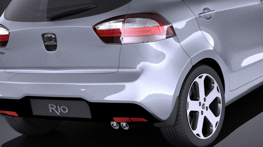 Kia Rio 2014 5 kapılı VRAY royalty-free 3d model - Preview no. 4