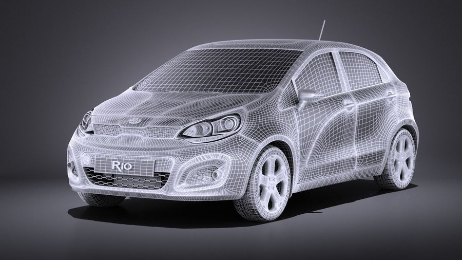 Kia Rio 2014 5 kapılı VRAY royalty-free 3d model - Preview no. 13