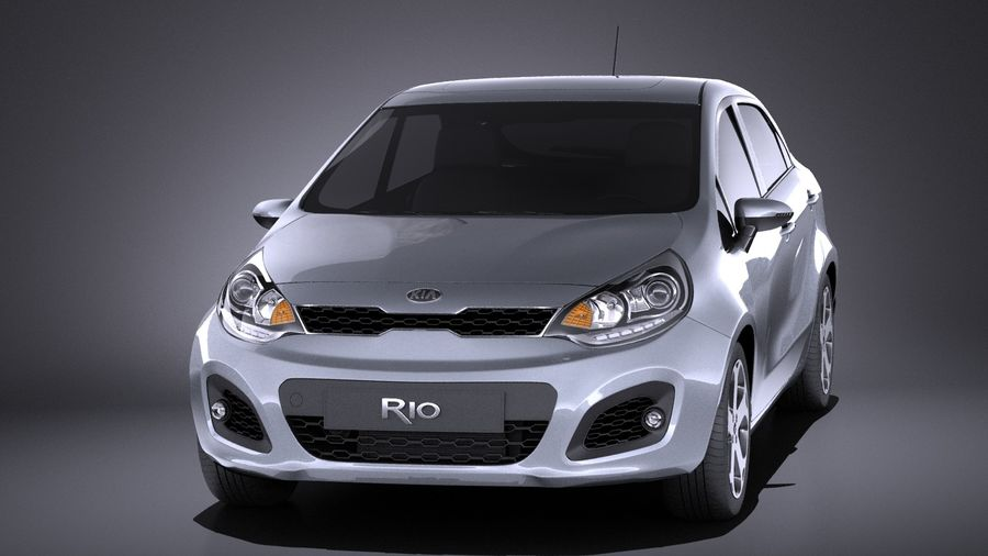 Kia Rio 2014 5 kapılı VRAY royalty-free 3d model - Preview no. 2