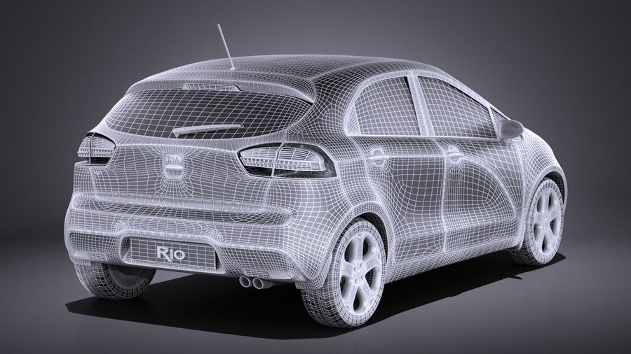 Kia Rio 2014 5 kapılı VRAY royalty-free 3d model - Preview no. 14