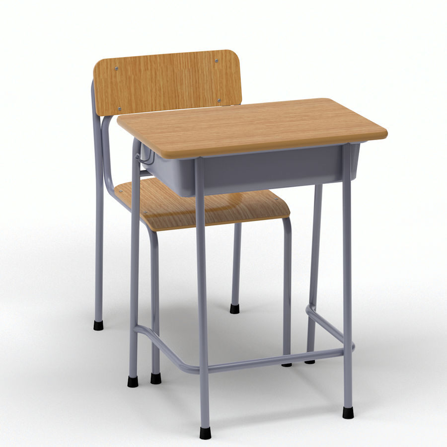 School Desk and Chair V2 royalty-free 3d model - Preview no. 10