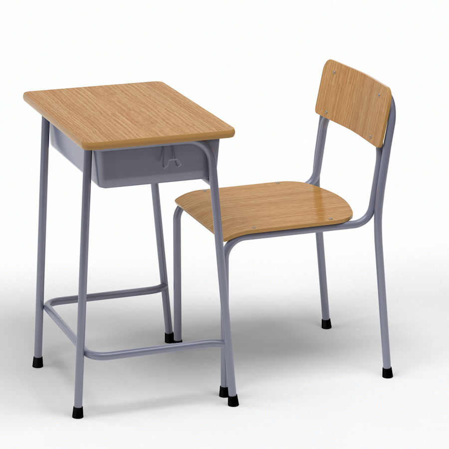 School Desk and Chair V2 royalty-free 3d model - Preview no. 8