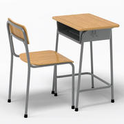 School Desk and Chair V2 3d model