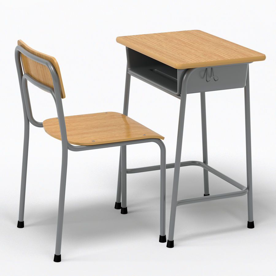 School Desk and Chair V2 royalty-free 3d model - Preview no. 1
