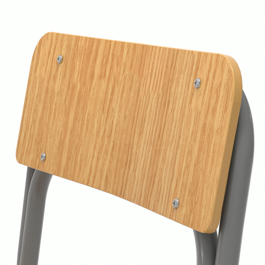School Desk and Chair V2 royalty-free 3d model - Preview no. 12