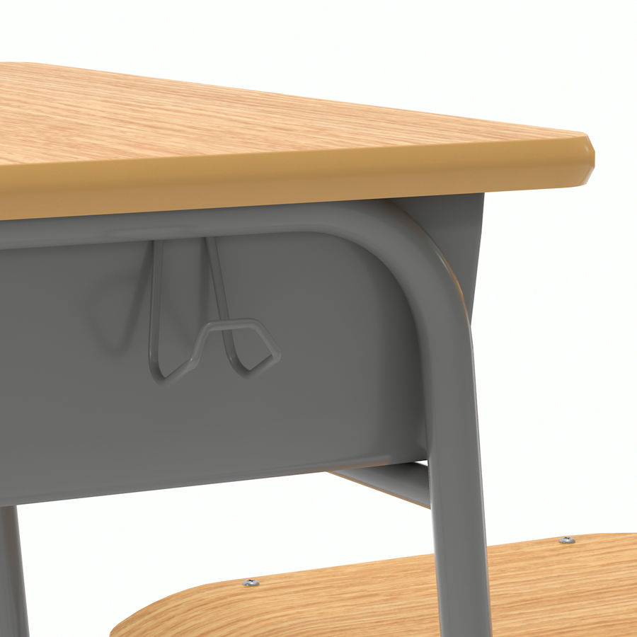 School Desk and Chair V2 royalty-free 3d model - Preview no. 14