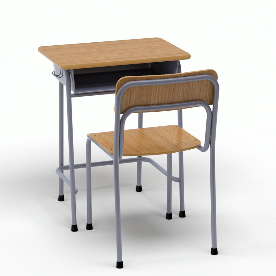School Desk and Chair V2 royalty-free 3d model - Preview no. 6