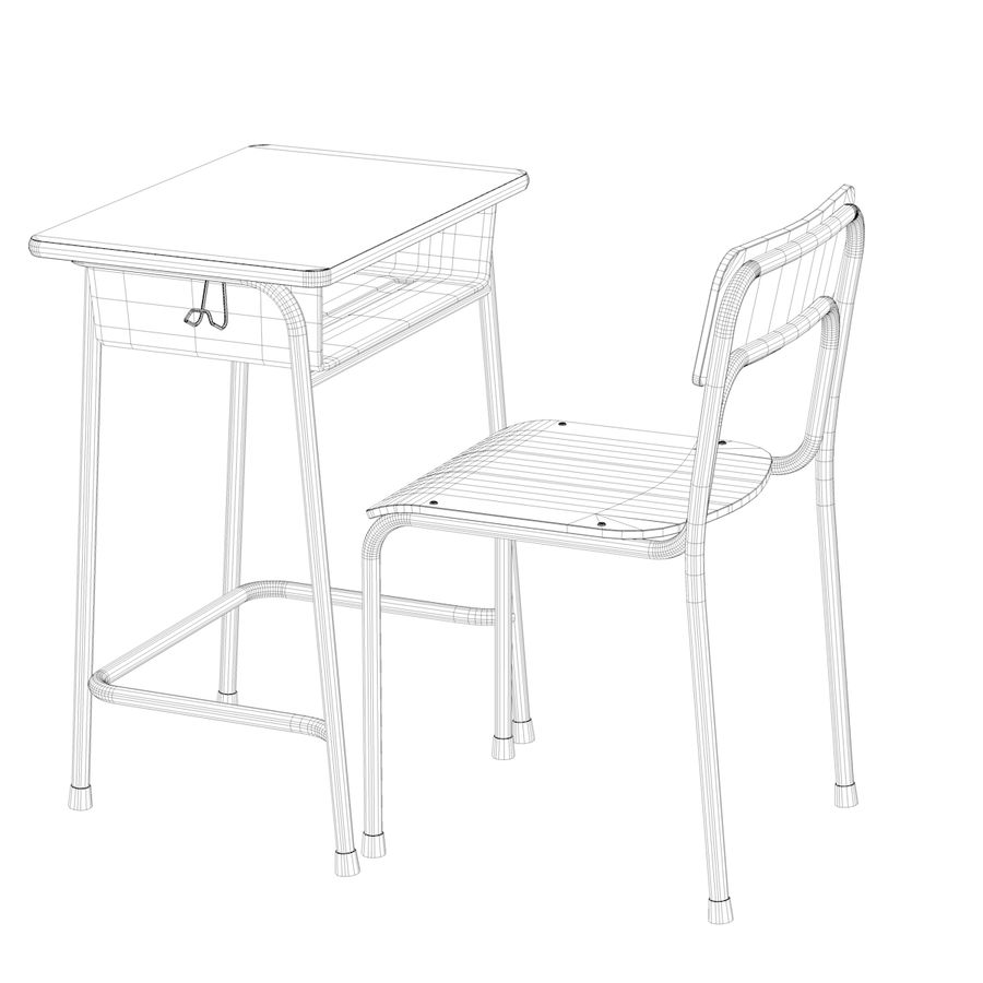 School Desk and Chair V2 royalty-free 3d model - Preview no. 19