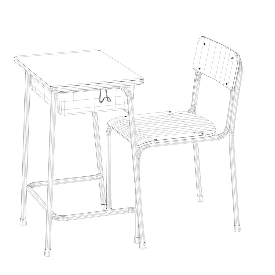 School Desk and Chair V2 royalty-free 3d model - Preview no. 20