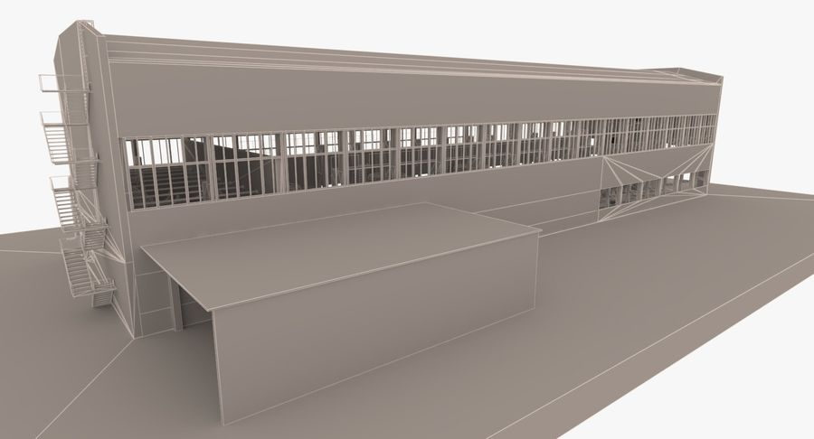 Opuszczony budynek przemysłowy royalty-free 3d model - Preview no. 21