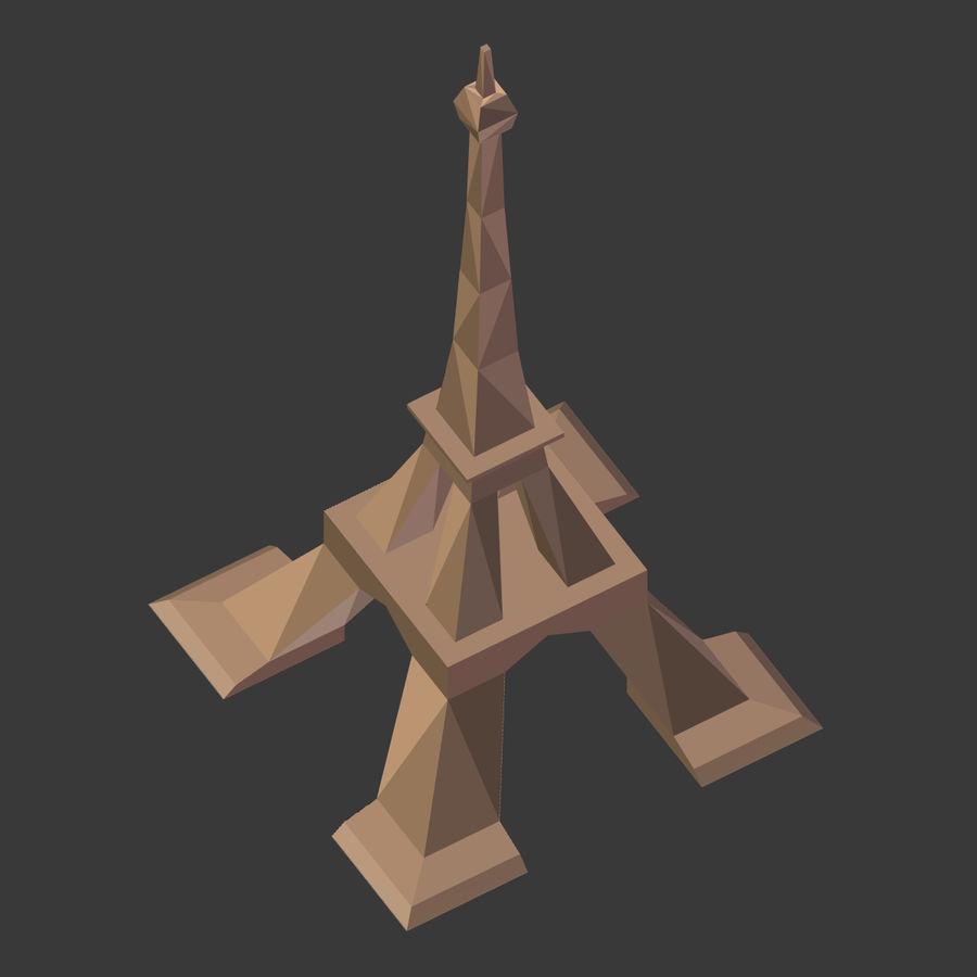 Torre Eiffel em poli baixo royalty-free 3d model - Preview no. 9