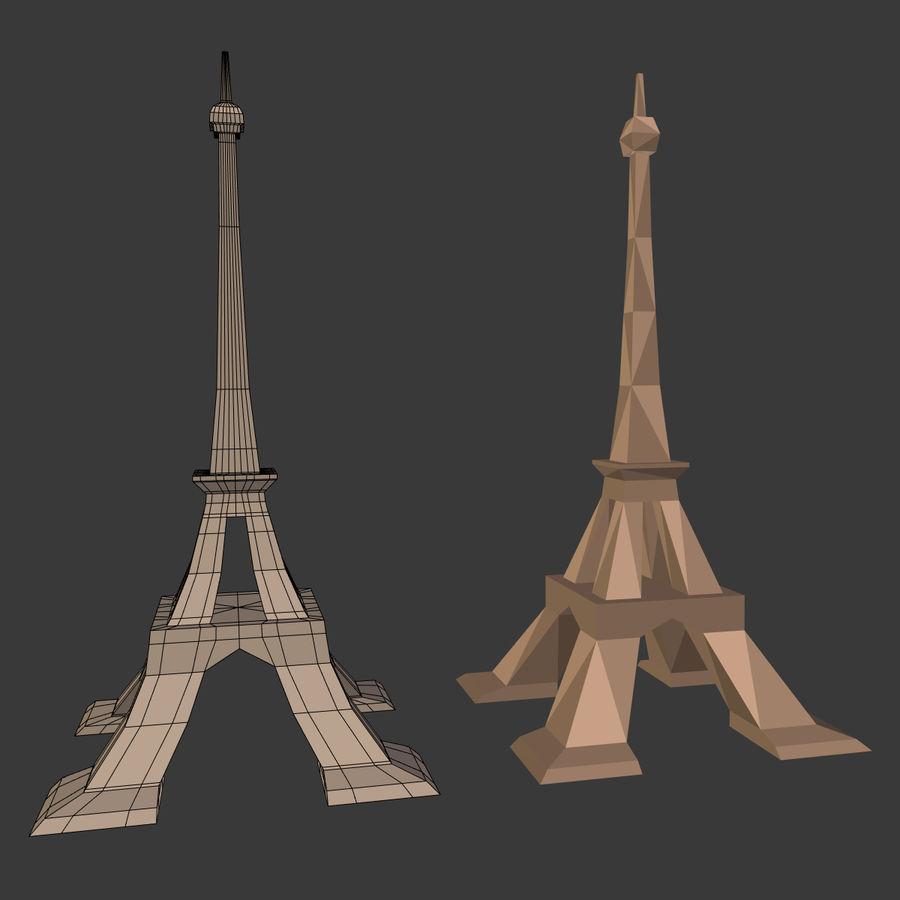 Torre Eiffel em poli baixo royalty-free 3d model - Preview no. 5