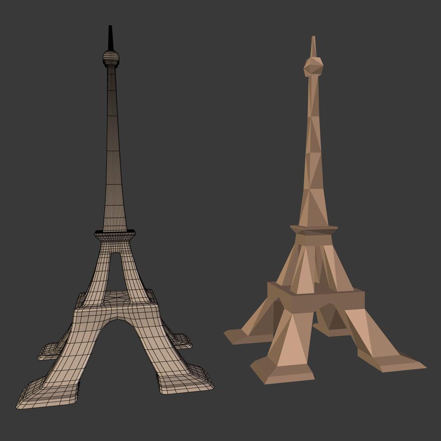 Torre Eiffel em poli baixo royalty-free 3d model - Preview no. 6