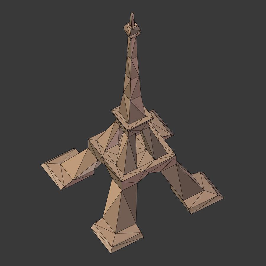 Torre Eiffel em poli baixo royalty-free 3d model - Preview no. 10
