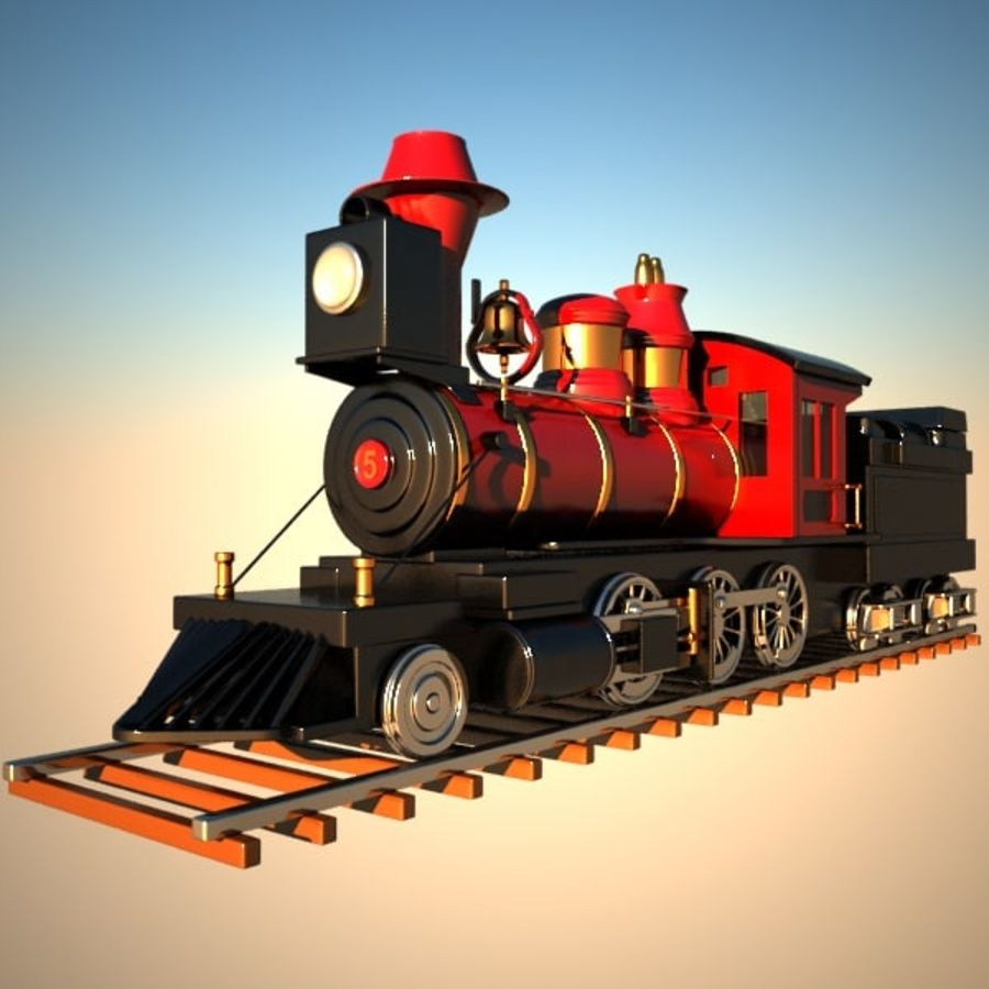 Toon Train royalty-free 3d model - Preview no. 5