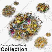 平面下のゴミ通り地面バナナオレンジ食用ダメージ支柱瓦礫解決ゴミ腐りゴミ箱コレクション 3d model