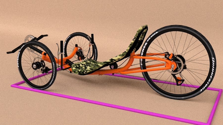 recumbent bicycle royalty-free 3d model - Preview no. 4