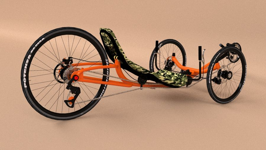 recumbent bicycle royalty-free 3d model - Preview no. 6