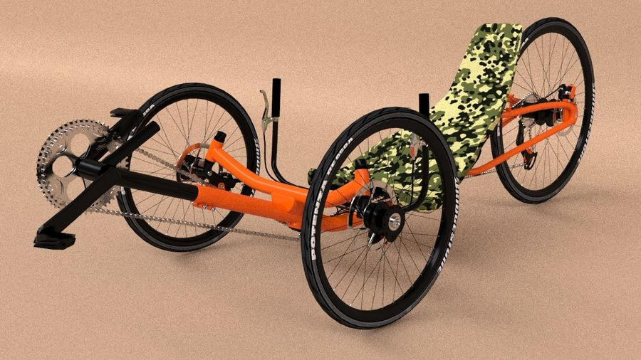 recumbent bicycle royalty-free 3d model - Preview no. 3