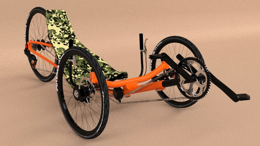 recumbent bicycle royalty-free 3d model - Preview no. 1